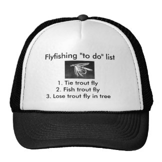 "Fly-fishing ""to do"" list ""Wet Fly Black"" Trucker Hat"