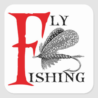 Fly Fishing With Fishing Lure Square Sticker