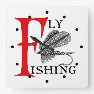 Fly Fishing With Fishing Lure Square Wall Clock