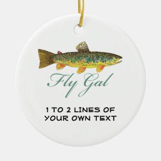 Fly Fishing Woman Ceramic Ornament