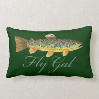 Fly Fishing Woman Lumbar Pillow
