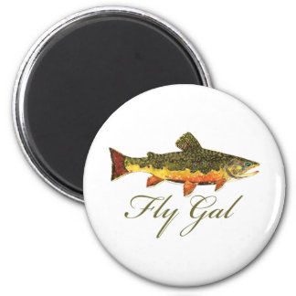 Fly Fishing Women 2 Inch Round Magnet