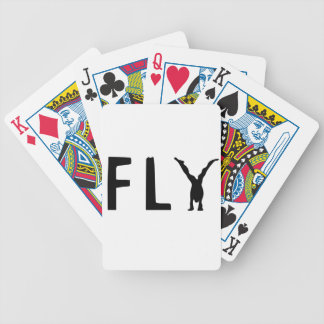 Fly funny text and human design bicycle playing cards