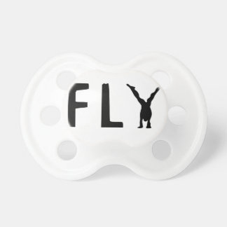 Fly funny text and human design pacifiers