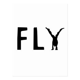 Fly funny text and human design postcard