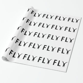 Fly funny text and human design wrapping paper