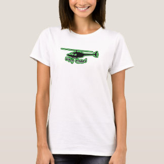 Fly Girl Helicopter Baby-T Green Logo T-Shirt
