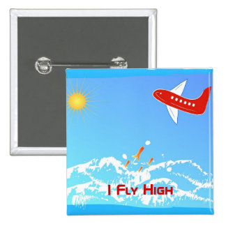 Fly High 2 Inch Square Button