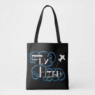 Fly High White Blue All-Over Print Tote Bag