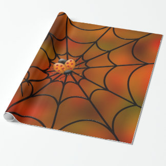 Fly in a Spider Web Halloween wrapping paper