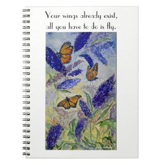 Fly Inspire Butterfly Watercolor Spiral Notebook