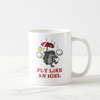 fly like at hedgehogs coffee mug