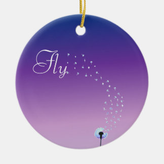 Fly little dandelion seed - Purple Ceramic Ornament