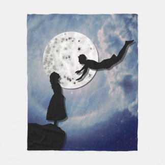 fly me to the moon paper cut universe fleece blanket