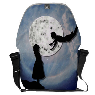 fly me to the moon paper cut universe messenger bag