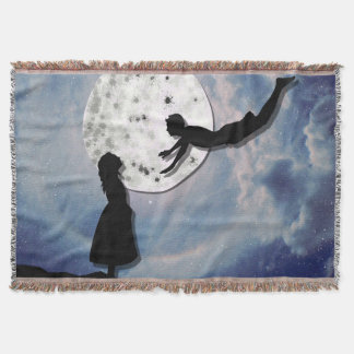 fly me to the moon paper cut universe throw blanket