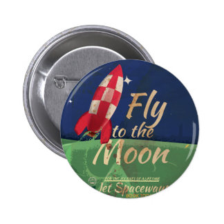 Fly me to the Moon Vintage Travel poster Buttons