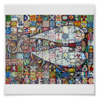 fly mosaic poster