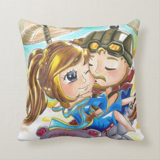"Fly Over (Corki & Sona) - Throw Pillow 16"" x 16"""