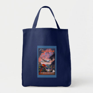 Fly the Caribbean Vintage Travel Poster on Cards Tote Bag