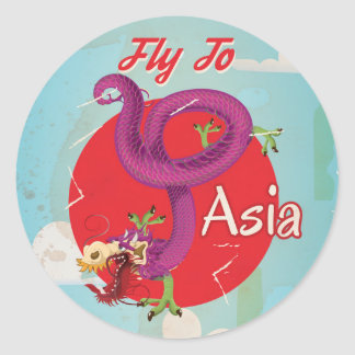 Fly to Asia Vintage Travel Poster Classic Round Sticker