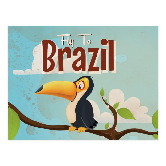 Fly to Brazil vintage Vacation Poster Postcard