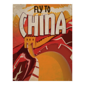 Fly To China vintage travel Poster