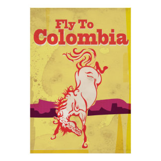 Fly To Colombia classic yellow travel poster