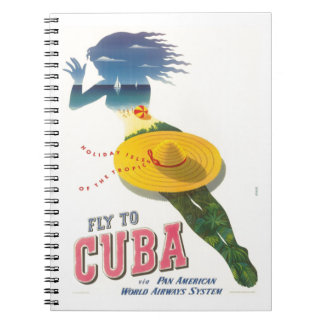 Fly to Cuba Holiday Isles of Tropics Vintage Spiral Note Book