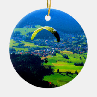 fly to freedom  paragliding sport mountains wind ceramic ornament