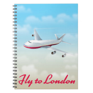 Fly To London Plane poster Notebook