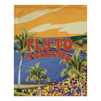 Fly To Tenerife Vintage Travel Poster