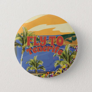 Fly To Tenerife Vintage Travel Poster 2 Inch Round Button