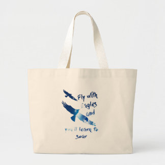 Fly with eagles large tote bag