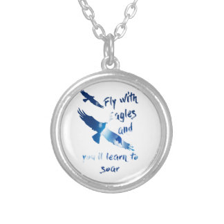 Fly with eagles silver plated necklace