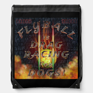 Flyball Flamz: Drag Racing for Dogs! Drawstring Bag