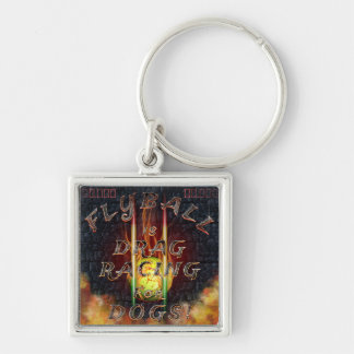 Flyball Flamz: Drag Racing for Dogs! Silver-Colored Square Keychain
