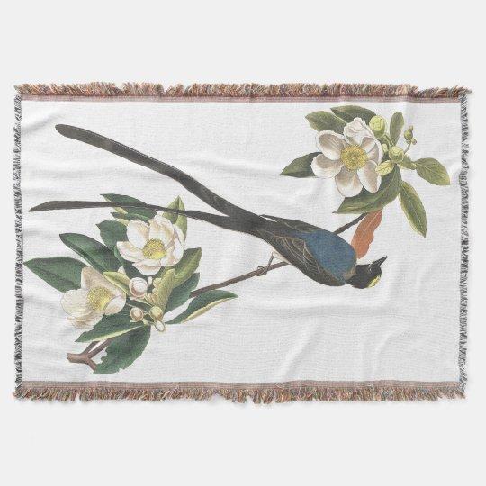Flycatcher Bird Audubon Flowers Throw Blanket