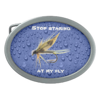 Flyfishing Humor Oval Belt Buckle