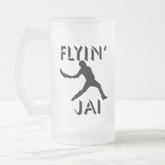 Flyin' Jai black silhouette Frosted Glass Beer Mug