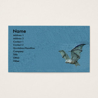 Flying 3d Blue Bat Business Card