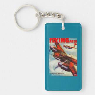 Flying Aces Magazine Cover 5 Double-Sided Rectangular Acrylic Keychain