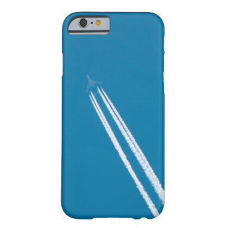 Flying airplane on a blue sky background barely there iPhone 6 case