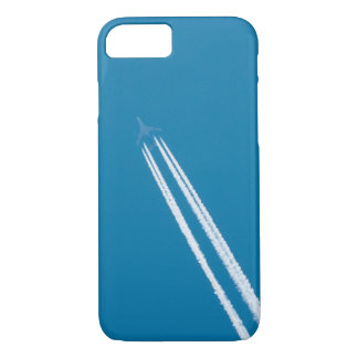 Flying airplane on a blue sky background iPhone 7 case