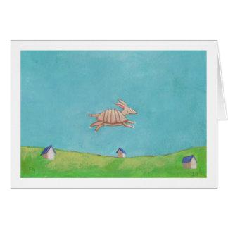 Flying Armadillo original painting fun art Card