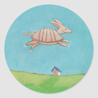 Flying Armadillo original painting fun art Round Sticker