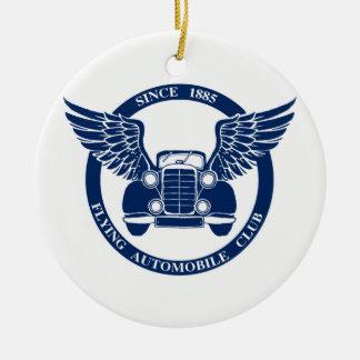 Flying Automobile Club Round Ceramic Ornament