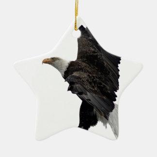 Flying Bald Eagle Ceramic Star Ornament