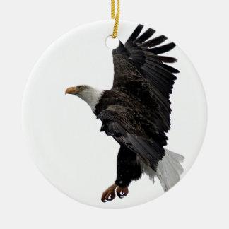 Flying Bald Eagle Round Ceramic Ornament