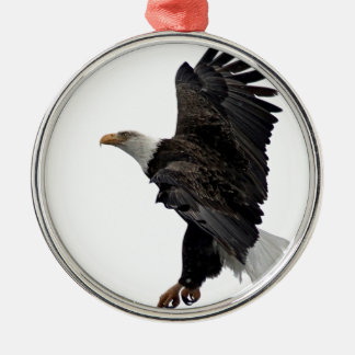 Flying Bald Eagle Silver-Colored Round Ornament